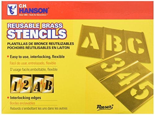 CH Hanson 10076 6 inch Brass Interlocking Stencils Letters and Numbers 45 Piece Set
