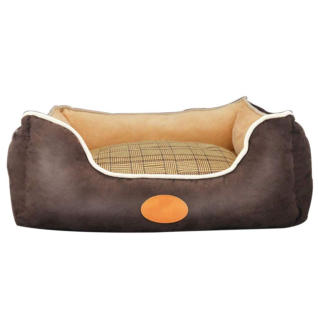 Brown 605021cmKennels Removable and washable Four seasons pet bed Small pet supplies Pet rest area Doghouse Cat house Canine pet bed (color   Brown, Size   60  50  21cm)