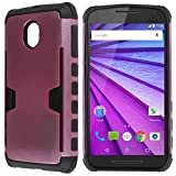 Moto G 3rd Gen Case, CoverON® [Smart Armor Series] Slim Phone Cover Corner Bumper + Grip + Card Slot Case For Motorola Moto G 3rd Generation 2015 - Hot Pink & Black