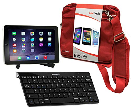 Navitech Converter Pack Including Multi OS Wireless Bluetooth Keyboard/Red Case Bag & Portable Stand Compatible with The TESCO Hudl Tablet | HTC Flyer| BlackBerry Playbook| Dell Streak 7
