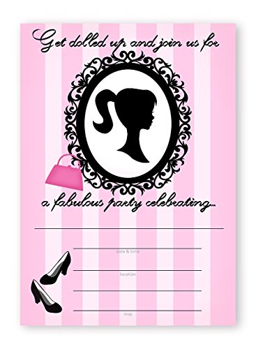 - Glamour Girl Party LARGE Invitations - 10 Invitations + 10 Envelopes