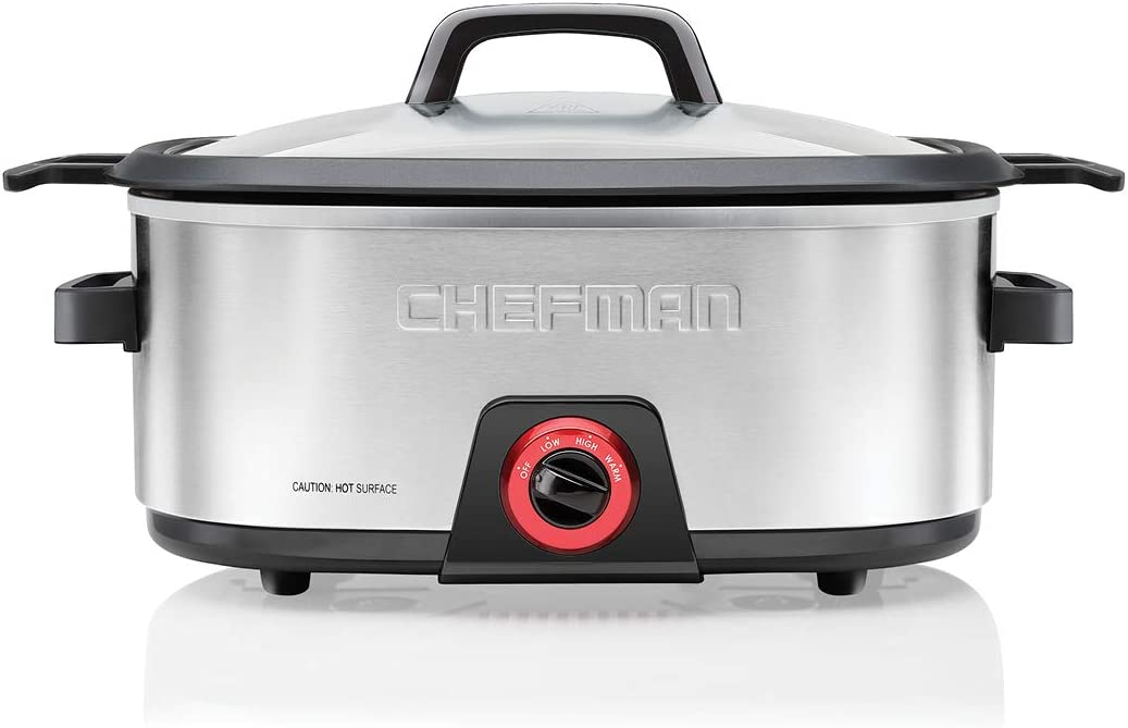 Chefman 6-Quart Slow Cooker, Electric Countertop Cooking, Stovetop & Oven-Safe Removable Insert for Browning & Sautéing, Family-Size Soups & Stews, Nonstick & Dishwasher-Safe Interior