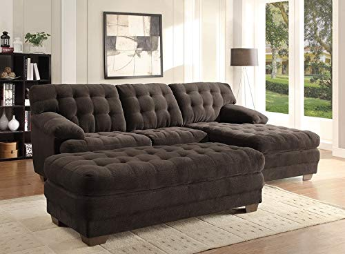 Home Elegance 9739CH-4 Channel-Tufted Textured Plush Microfiber Ottoman, Chocolate Brown