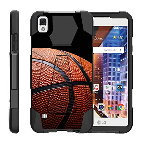 TurtleArmor | Compatible with LG Tribute HD Case | LG Volt 3 | LG X Style [Dynamic Shell] Dual Hybrid Hard Impact Silicone Cover Kickstand Sports and Games - Basketball Seams (Lg Volt 4g Lte Case)