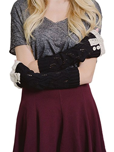 WonderfulDress Women's Arm Warmers with Natural Lace Trim (One Size, Black)