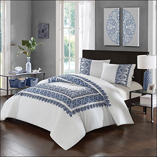 Chic Home 3 Piece Sarita Garden Comforter Set, Full/Queen, Navy,