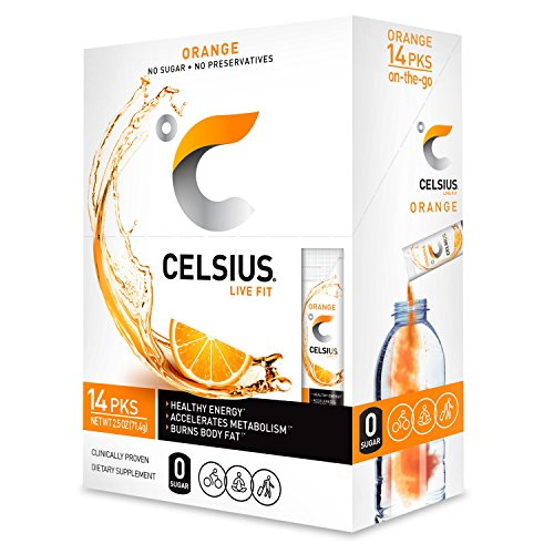 - CELSIUS Orange On-the-GO Powder Stick Packs, ZERO Sugar (14 Sticks per Pack)