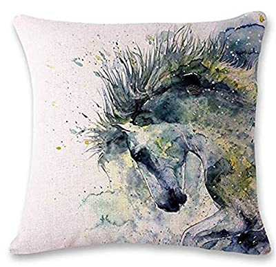 "LYNZYM Cotton Linen Square Throw Pillow Case Decorative Cushion Cover Pillowcover for Sofa 18""X 18"" Horse"