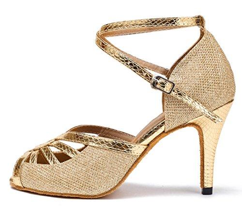 8 e Joymod Gold Moderno 5cm 35 MGM Jazz Glitter Donna EU Heel Oro 8ZqAx