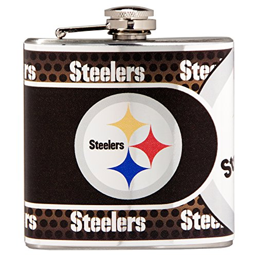 Great American Products NFL Denver Broncos Stainless Steel Hip Flask with Metallic Graphics, 6-Ounce, Silver