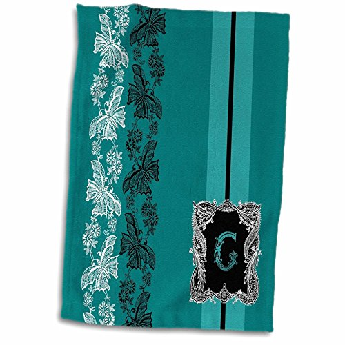 3D Rose Monogram Initial G in Teal White and Black Lace Hand Towel, 15