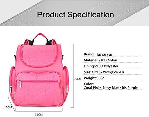 larsuyar Gran Capacidad Multifuncional bolsa de maternidad, para las mujeres embarazadas, 39cm by 31cm por 15cm morado rosa