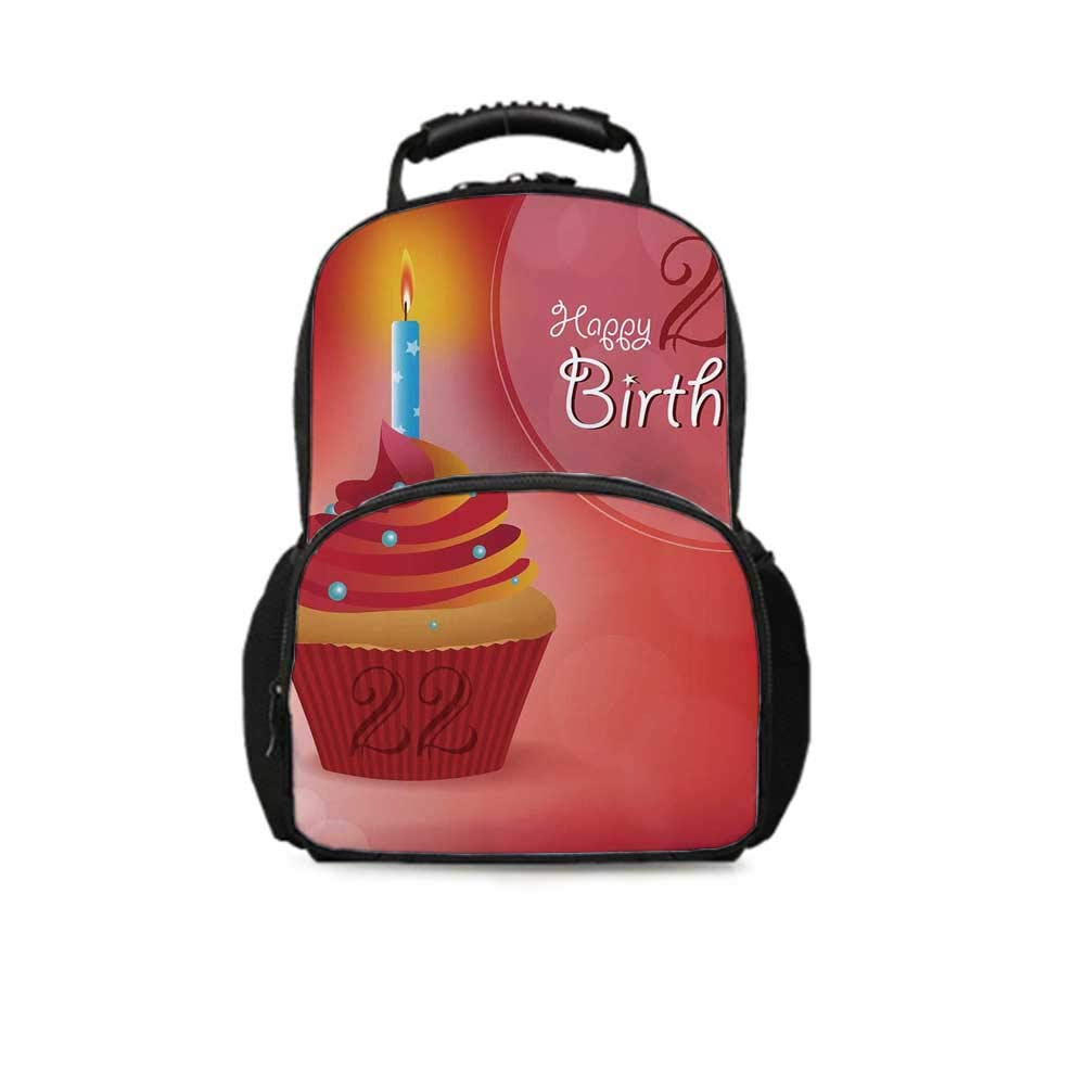 22nd Birthday Decorations Leisure School Bag,Cute Cupcake with Candles Romantic Celebration Illustration for School Travel,One_Size