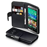HTC One Mini 2 Case, Terrapin [Genuine Leather] HTC One Mini 2 Case Executive [Black] Premium Wallet Case with Card Slots & Bill Compartment for HTC One Mini 2 - Black