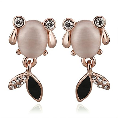 14k Goldfish Hook Earrings (Alimab Gold Plated Womens Stud Earrings Opal Goldfish Rose Gold Antiallergy)