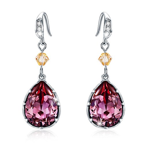 O'COCOLOUR Wine Red Teardrop Hook Dangle Earrings Silver Plated Made with Swarovski Crystals Gift for Girlfriend Woman Mom, Gift Packing -