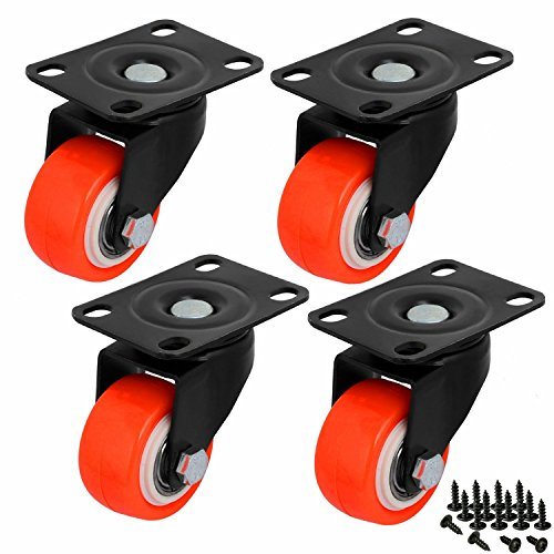 550 Lb Storage (2-Inch Replacement Top Plate Swivel Casters Solid Rubber Wheels Heavy Duty 550lb (Non Brake_Orange))