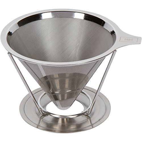 Rednax Homewares Paperless Cascade Over and Drip Coffee Filter - Reusable Micro Mesh Cone Dripper with Stand (1-4 Cups)