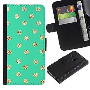 Écran Dot Green Gold Glitter Brillant - la tarjeta de Crédito Slots PU Funda de cuero Monedero caso cubierta de piel ParaSamsung Galaxy S3 MINI i8190 (NOT S3)