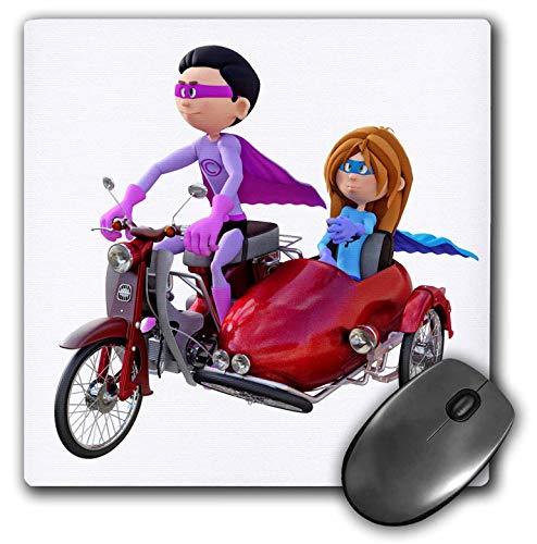 3dRose Boehm Graphics Cartoon - A Cartoon Superhero Duo Riding a Scooter with a Sidecar - Mousepad (mp_245589_1) ()