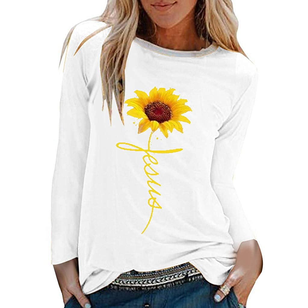 Womens Casual T Shirt Blouse Sunflower Print Shirts O-Neck Long Sleeve Top Loose Tops Chaofanjiancai