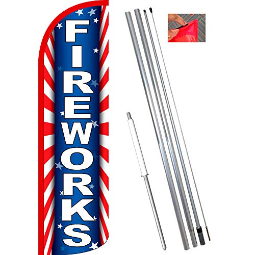 Fireworks (Starburst) Windless Feather Flag Bundle for sale  Delivered anywhere in USA