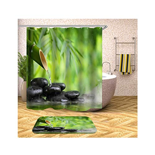 Aokarry Polyester Waterproof Shower Curtain and 40x60cm Rug Set (Pack of 2) Colorful Bamboo 66x72 ''