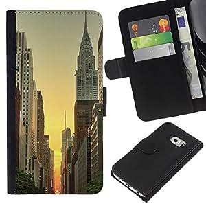 EJOY---La carpeta del tirón la caja de cuero de alta calidad de la PU Caso protector / Samsung Galaxy S6 EDGE / --Empire York Edificio Amanecer Cielo