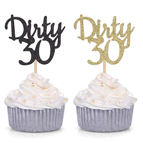 24 Counts Gold and Black Glitter Dirty 30 Cupcake Toppers/Age Thirty Happy 30th Birthday Party Decorations Supplies