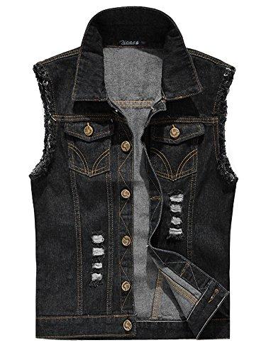 - Zicac Men's Top Design Denim Vest Waistcoat with Broken Holes (S, Black)