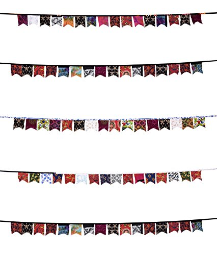11 Feet Fabric Banner, Vintage Multicolor Mandala Bunting Flags, DIY Decoration Banners for Birthday Party, Wedding, Baby Shower, Window Decorations, Children's Living Room Decoration Gypsy -