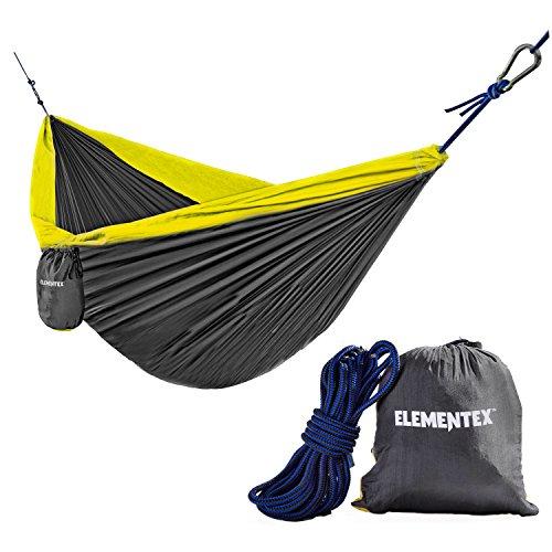 ELEMENTEX Portable Parachute Nylon Travel Camping Backpacking Hammock - Small Gray & Yellow