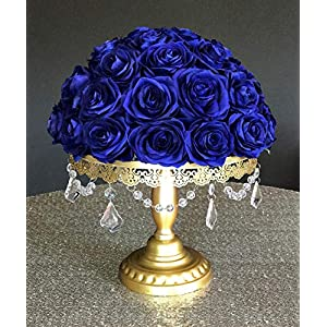 DALAMODA Artificial Silk Flowers Rose Heads DIY for Wedding Bridesmaid Bridal Bouquets Bridegroom Groom Men's Boutonniere and Corsage,Shower Party Home Decorations 24pcs (Royal Blue) 5