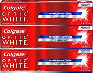 Colgate Icy Fresh Optic White Whitening Toothpaste, 5 Ounce, 3 Count