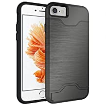iPhone 7 Case, NOKEA [Slim Armor] Card Holder Dual Layer Advanced Shock Absorption Protective with Card Holder and Kickstand Wallet Case Heavy Duty Bumper for iPhone 7 4.7 Inch (2016) (Gray)