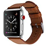 Apple Watch Band, COVERY 38MM iWatch Band Genuine Leather Strap Stainless Metal Buckle for Apple Watch Series 3, Series 2, Series 1, Sport & Edition- Brown