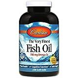 Carlson The Very Finest Fish Oil, Lemon, Norwegian, 700 mg Omega-3s, 240 Soft Gels