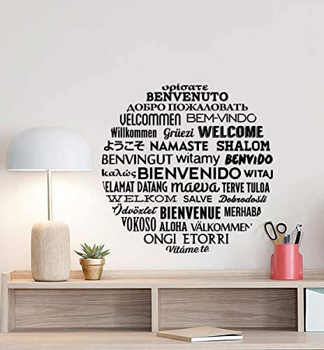 Welcome In Different Languages Wall Decal Hello Poster Office Sign Welcome Decal Quote Vinyl Sticker Hallway Decor Welcome Wall Made In Usa Fast Delivery Home Kitchen