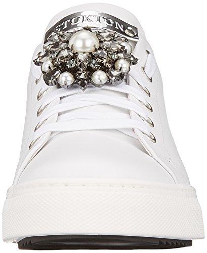 Scarpe Bianco Silver Stokton Donna White Sneaker Ginnastica da Basse 5SnzgZqw