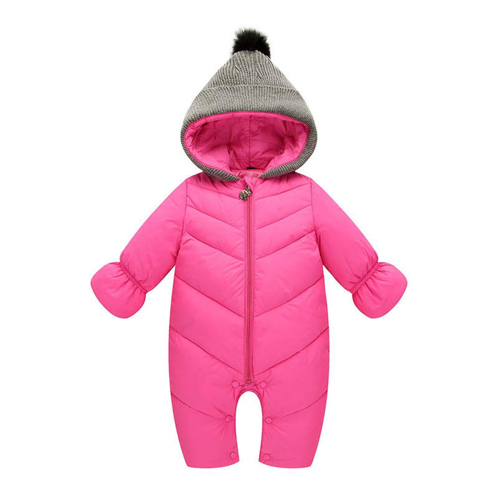Baby Boys Girls Jumpsuit Hoodie Romper Outfit Thick Warm Long Sleeve Creepers Bodysuit Winter Clothes (3-6 Months, Red) Fdsd