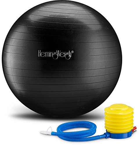 HemingWeigh Exercise Anti-Burst Ball For Fitness Stability and Yoga, Includes Foot Pump (Black, 75cm)