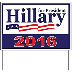 """Hillary Clinton Yard Sign Large OVERSIZED With Stand - DOUBLE-SIDED 2016 - WATERPROOF 24""""x18"""" Clinton Kaine Signs - Anti Trump LGBT Support - Add To Bumper Sticker, T Shirt Collection"""