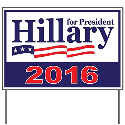 hillary clinton yard sign large oversized with stand double sided 2016 waterproof 24 x18. Black Bedroom Furniture Sets. Home Design Ideas
