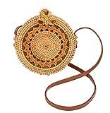 OURSART Women's Rattan Handwoven Handbag Bohemian Style Shoulder Bag Summer Beach Round Crossbody bag (Khaki)