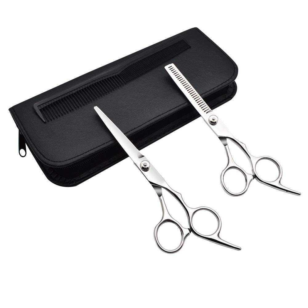 GreeSuit Dog Grooming Shears Barber Hair Cutting Stainless Steel Hairdressing Scissors for Pet or Personal Professional Use, 1 Straight Edge Hair Scissor, 1 Texturizing Thinning Shears - Set of 2