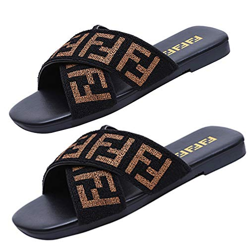 Women's Fashion PU Letter Print Elastic Band Crossover Slippers Antiskid Rubber Bottom Beach Shoes (7M US-40, F-Black)