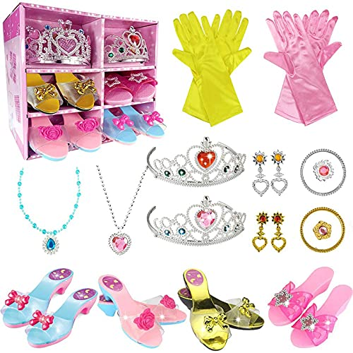 WTOR Princess Dress Up Shoes Toys 4 Pairs Girls Plastic Shoes and Jewelry Accessories Role Play Collection Shoe Set Gift for Girls 3 4 5 6 7 8 Years Old