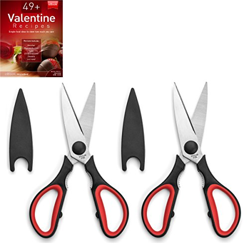 Ultra Sharp Kitchen Cooking Scissors, Heavy Duty, Serrated Stainless Steel Shears, Set of 2, Protective Cap, Dishwasher Safe, Plus Cooking Secrets eBook (Stainless Shears)