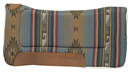 "Weaver Leather All Purpose 30"" x 30"" Contoured Saddle Pad with Felt Insert and Merino Wool Fleece Bottom, Blue Navajo"