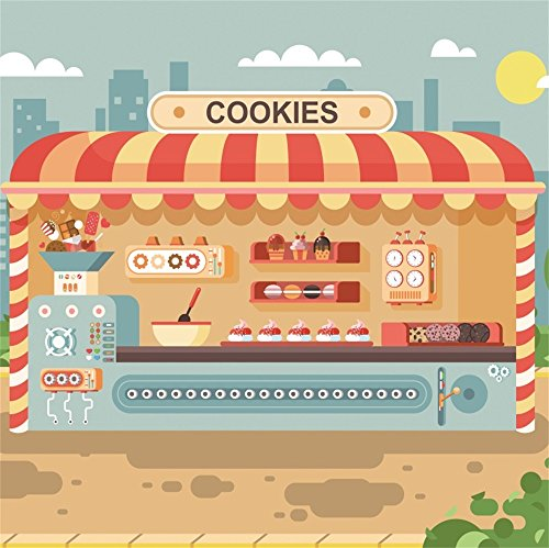 (LFEEY 6x6ft Kids Children Birthday Party Backdrop for Photos Wallpaper Cartoon Cookies Shop Muffins Cupcake Cake Pastries Sweets Stall Photography Background Photo Studio Props)